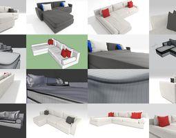 3D 3 Corner Sofas with 4k PBR textures