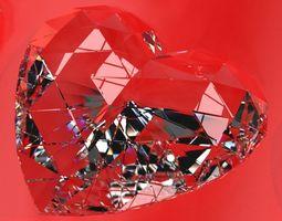 Set Heart shaped gemstone v1 3D