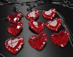 3D model Set Heart shaped gemstone v2