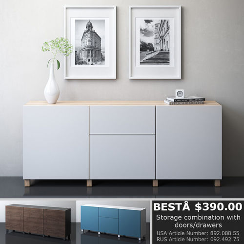 ikea besta storage combination 3d model max obj mtl 3ds fbx mat 1