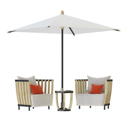 Swing Lounge Chair Tabel Coffee And Swing Parasol 3d Model