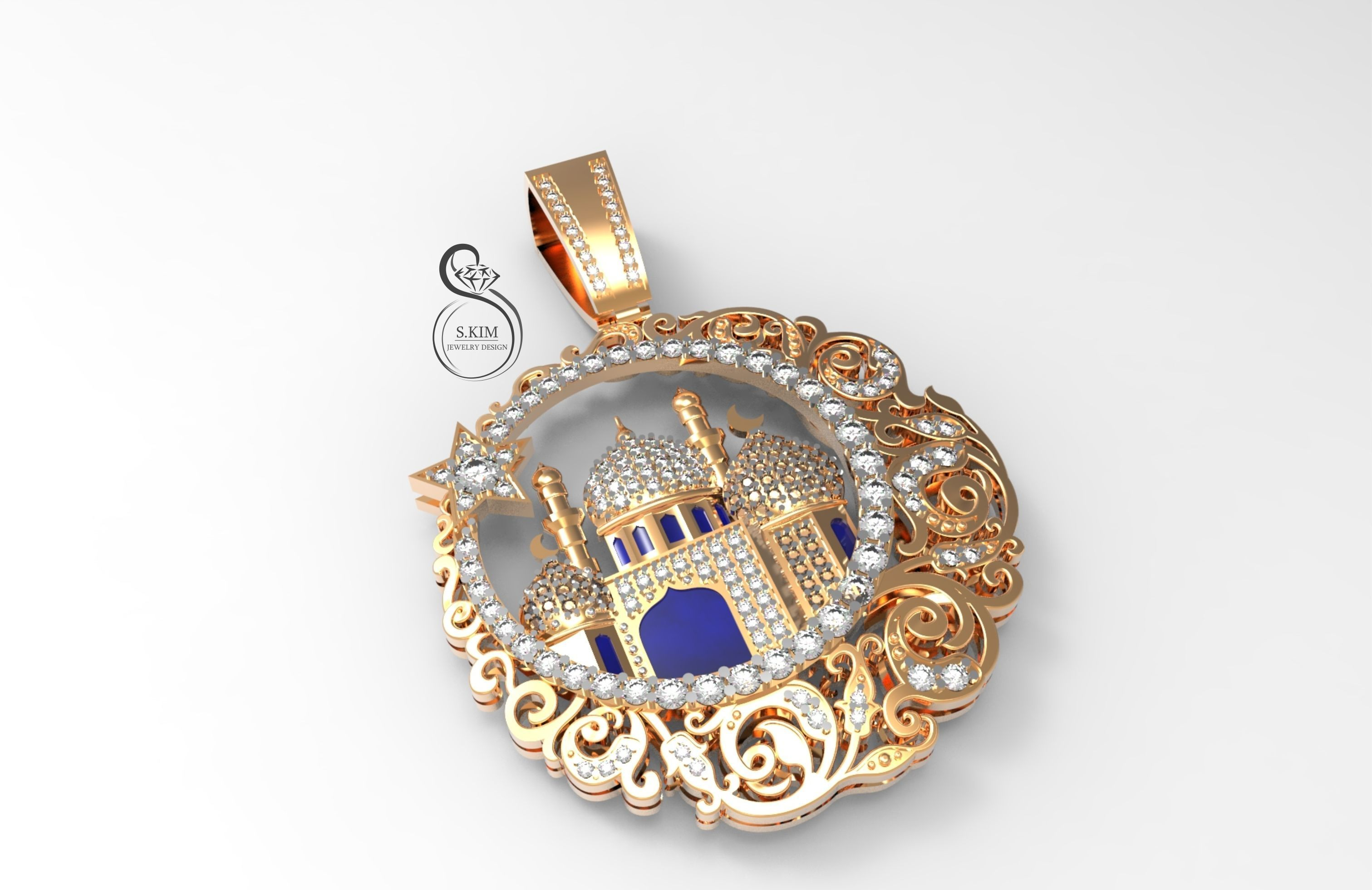 Pendant muslim mosque with gems and enamel