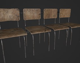 Chair Bench - Multichair - Low Poly 3D asset