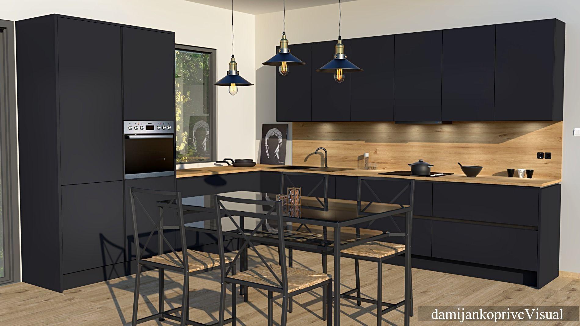 Vr Ar Ready Modern Black Kitchen 3d Model Cgtrader