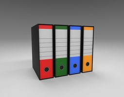 3D model game-ready Office binders