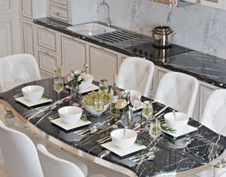 3D model Interior Neoclassic Kitchen 01