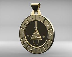 3D print model Bill Cipher Zodiac Pendant