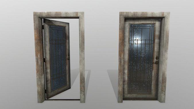 door 2 3d model low-poly obj mtl fbx blend 1