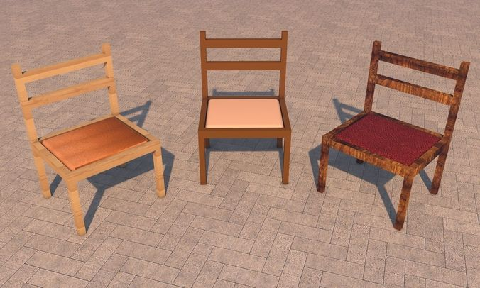 chairs 3d model low-poly obj mtl 3ds fbx c4d X 1
