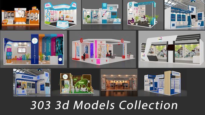 exhibition stall collection 303 models collection 3d model max 1