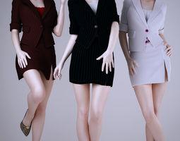 wear work uniforms office girl 3d