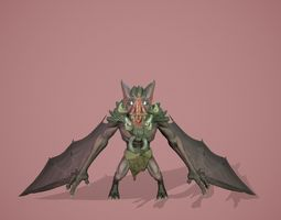 Stylized bat 3D asset game-ready