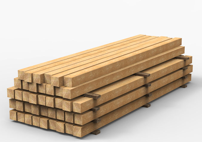 wooden beams 3d model low-poly max obj mtl fbx 1