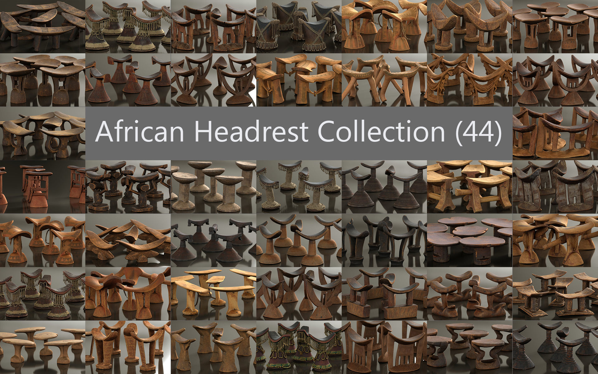 44 African Headrests Antique Carved Wood