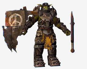 3D asset Game Character Armored Military Troll Orc
