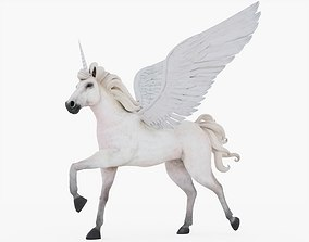 3D model VR / AR ready Unicorn Rigged with fur