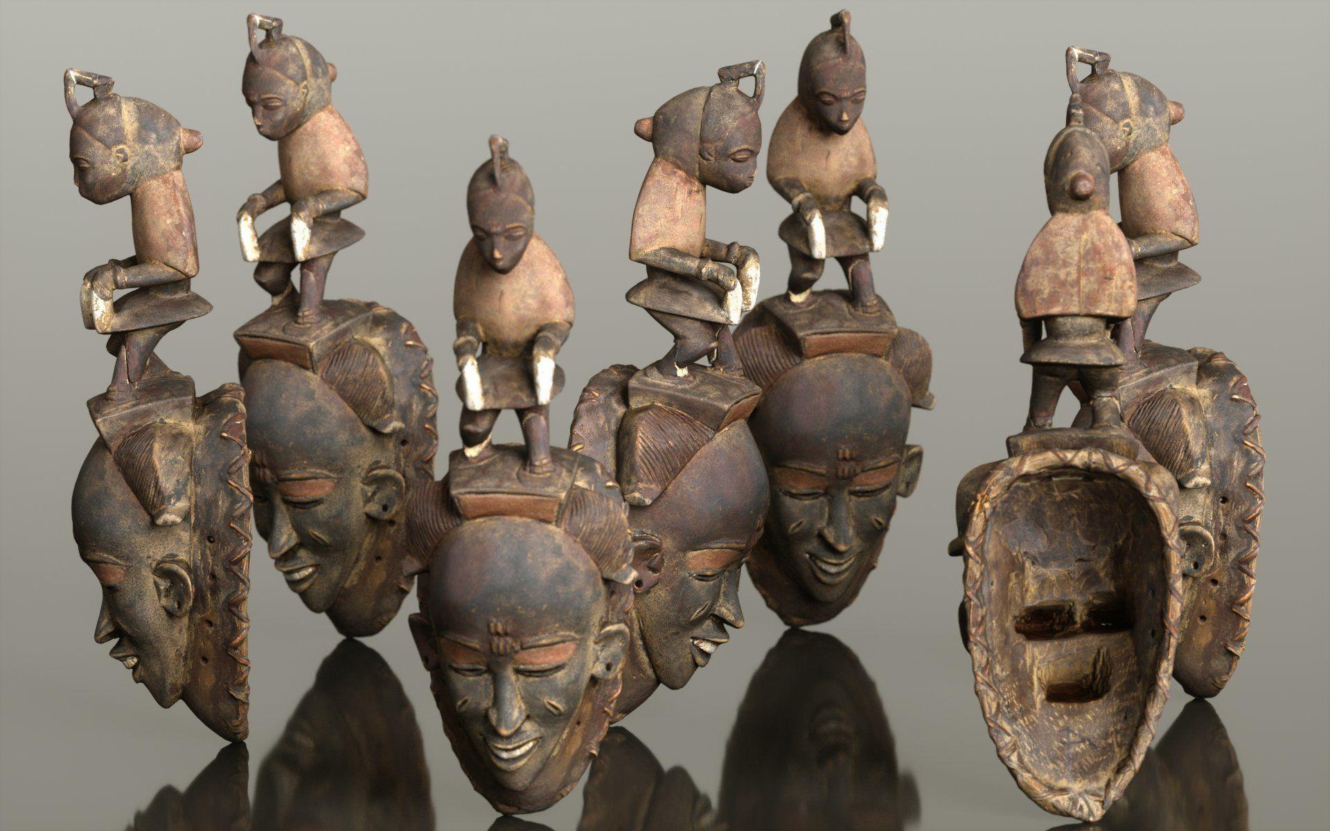 Afrikan Mask Carved Wood 50