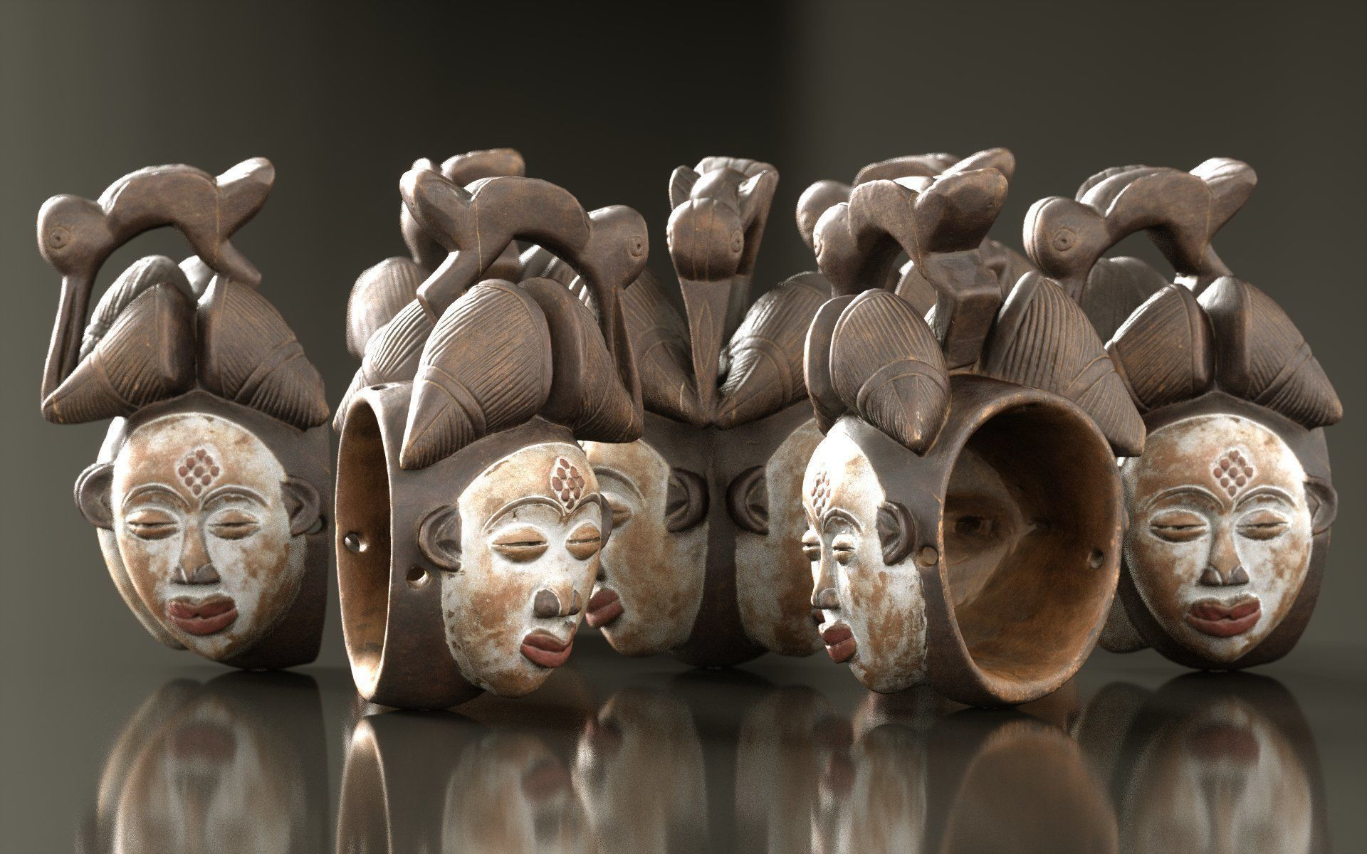Asian Mask Carved Wood 45