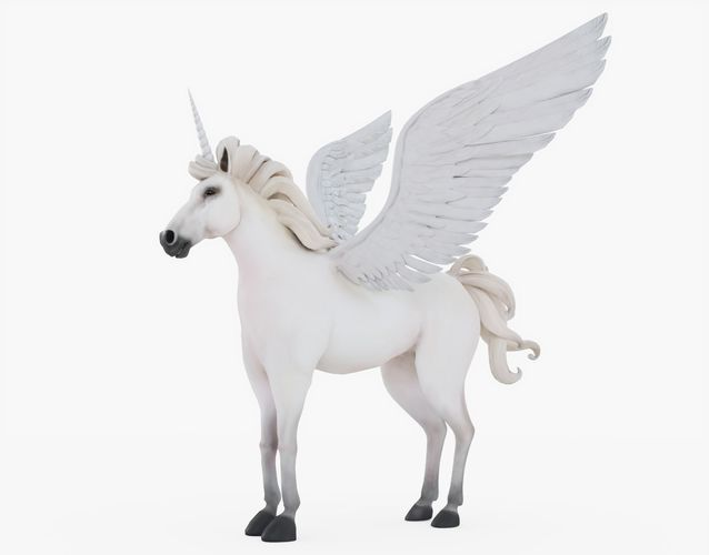 unicorn with fur 3d model obj mtl 3ds fbx stl blend 1