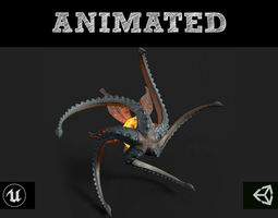 Flying Monster 3D asset animated realtime