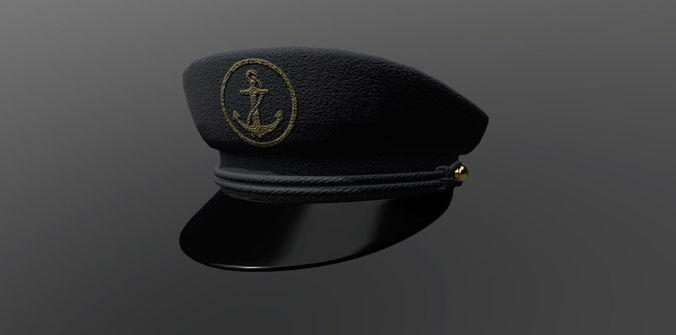 2aa16d34d7d45 captain hat pbr 3d model low-poly max obj mtl 1
