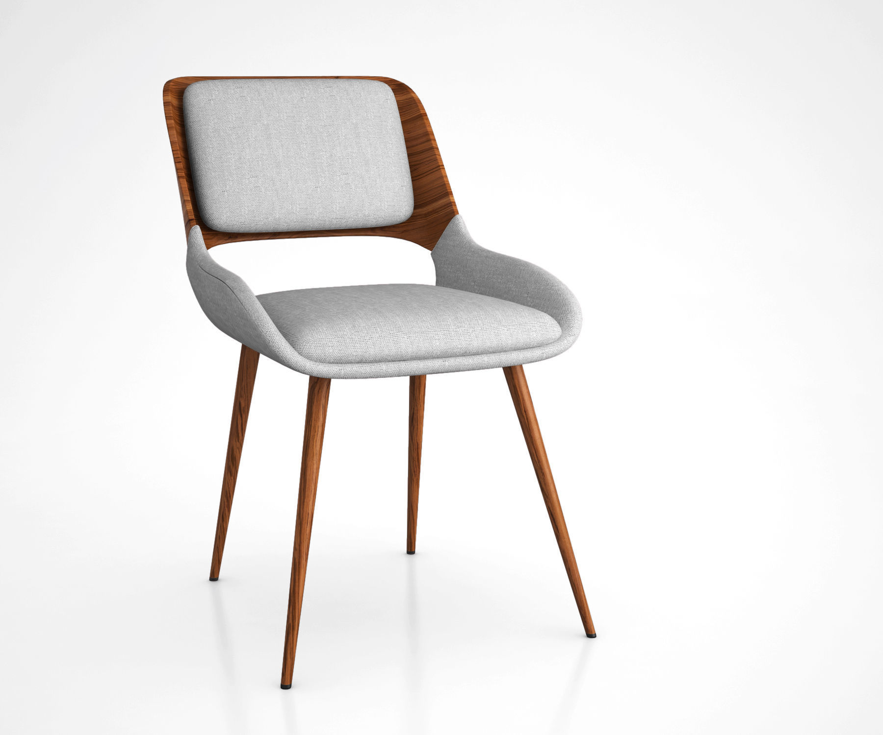 Panda Mid-Century Dining Chair in Walnut Wood and Gray Fabric