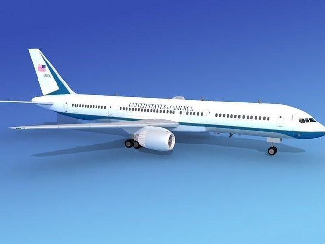 boeing 757-200 united states gov 3d model rigged max obj 3ds lwo lw lws dxf stl 1