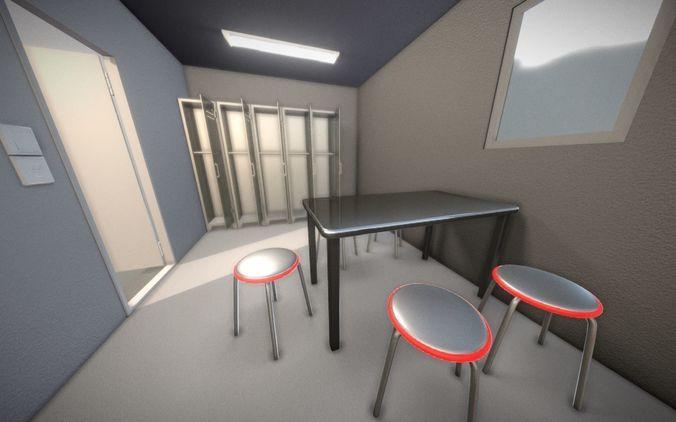 low-loly break room version 2 3d model low-poly obj mtl 3ds fbx dxf stl blend 1