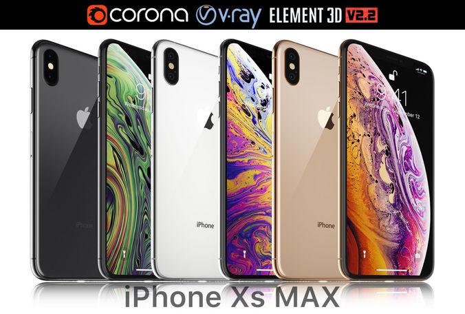 apple iphone xs max all colors 3d model max obj mtl 3ds mat 1