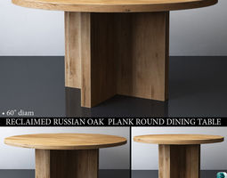 3D model RECLAIMED RUSSIAN OAK PLANK ROUND DINING TABLE