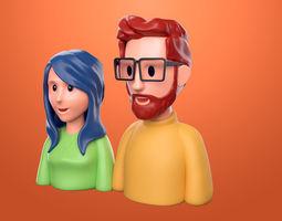 Couple 3d cartoon model