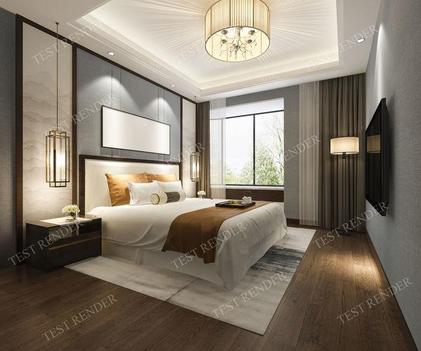 Luxury modern bedroom suite in hotel 3d model max 3ds fbx