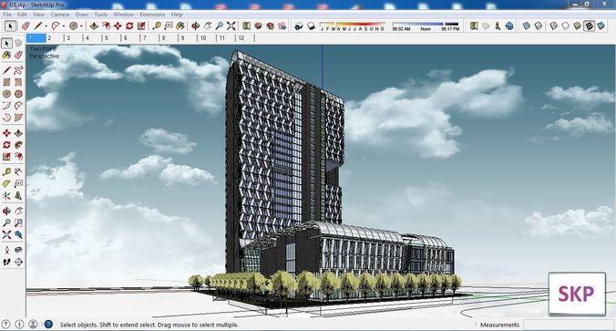 Sketchup hotel building G5