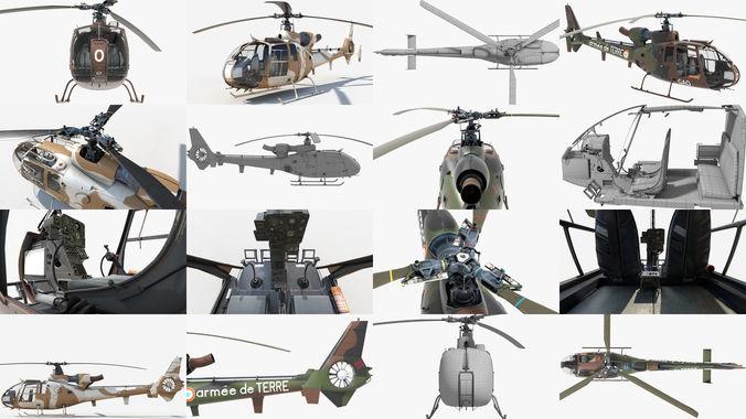 collection sud aviation gazelle 3d model obj mtl fbx ma mb lxo lxl tga 1