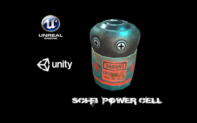 sci-fi battery cell  3d model low-poly obj mtl fbx ma mb unitypackage prefab 1