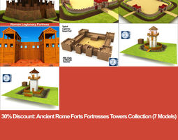 Ancient Rome Forts Fortresses Towers Collection 3D