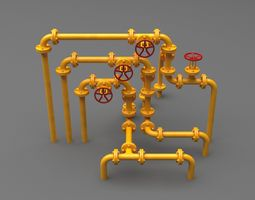 3D model PBR Industrial Pipes Small