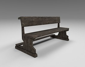 3D model realtime Church wooden pew