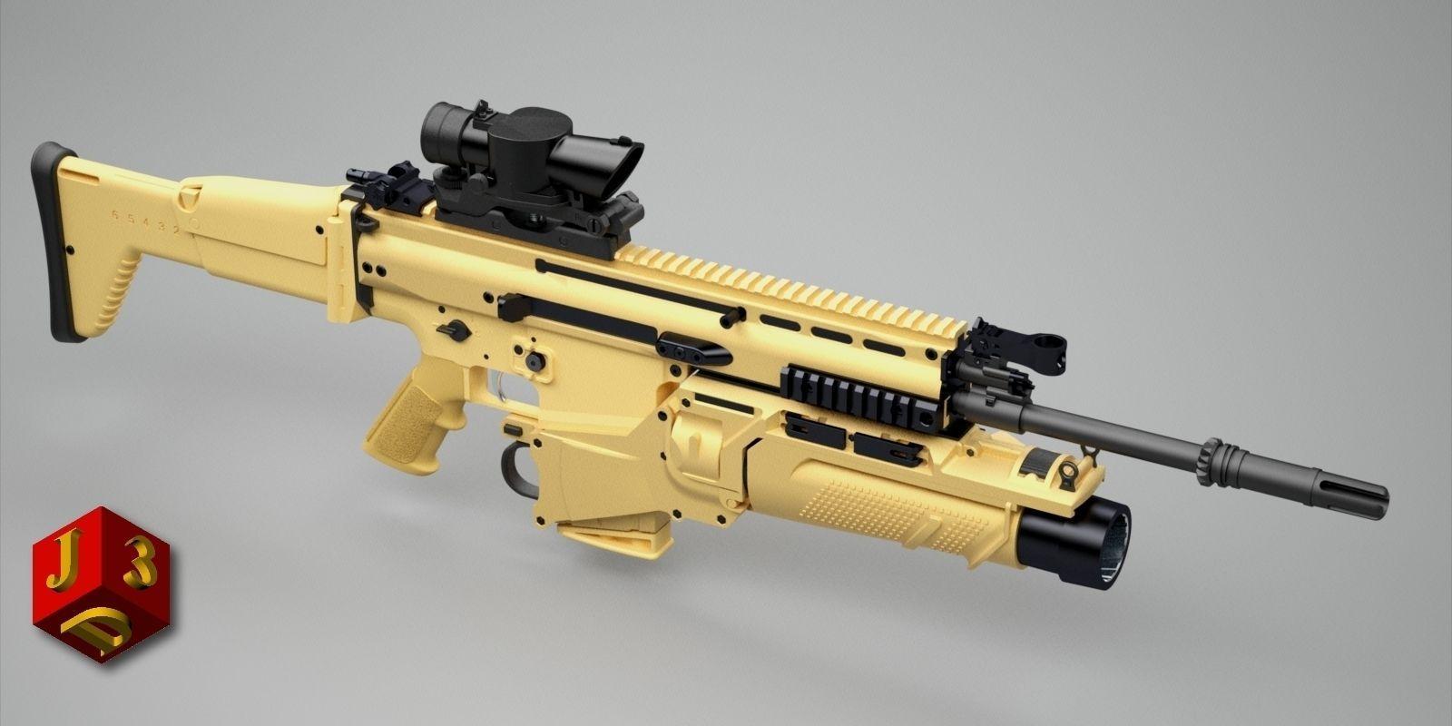 SCAR-H assault rifle | 3D model