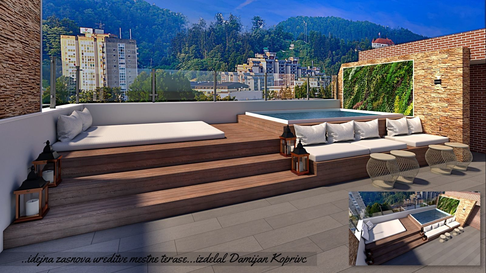 roof top lounge with water pool 3d model