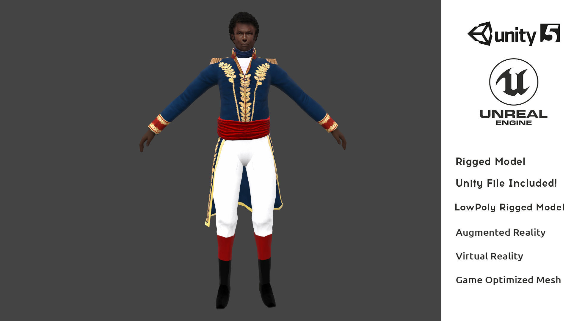 Black Napoleon AR VR Low Poly 3D Rigged Character Model | 3D model