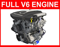 3D model Complete V6 Car Engine with Interior Parts