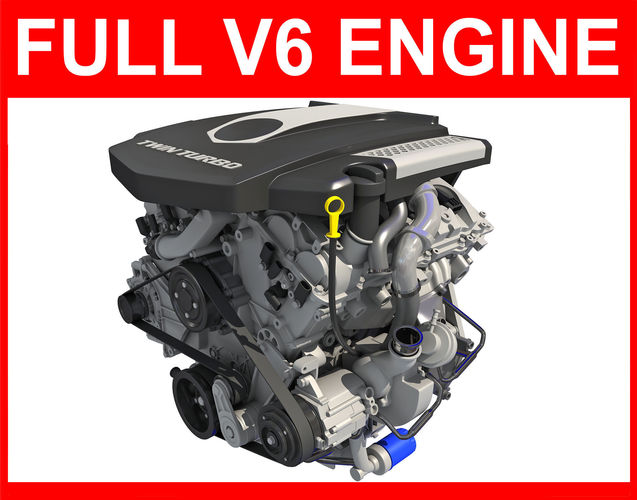 complete v6 car engine with interior parts 3d model max obj mtl 3ds lwo lw lws ma mb hrc xsi 1
