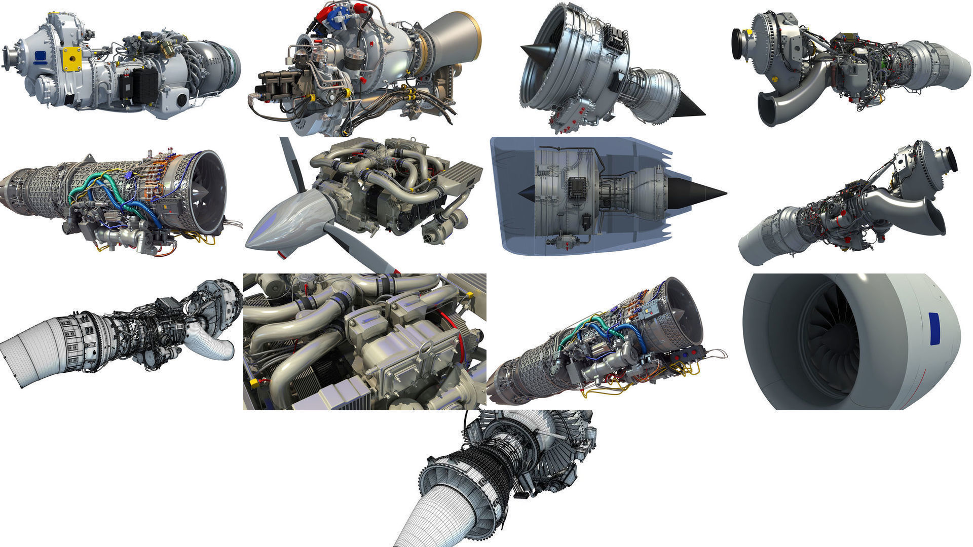 Aircraft Engines 3D Models Collection