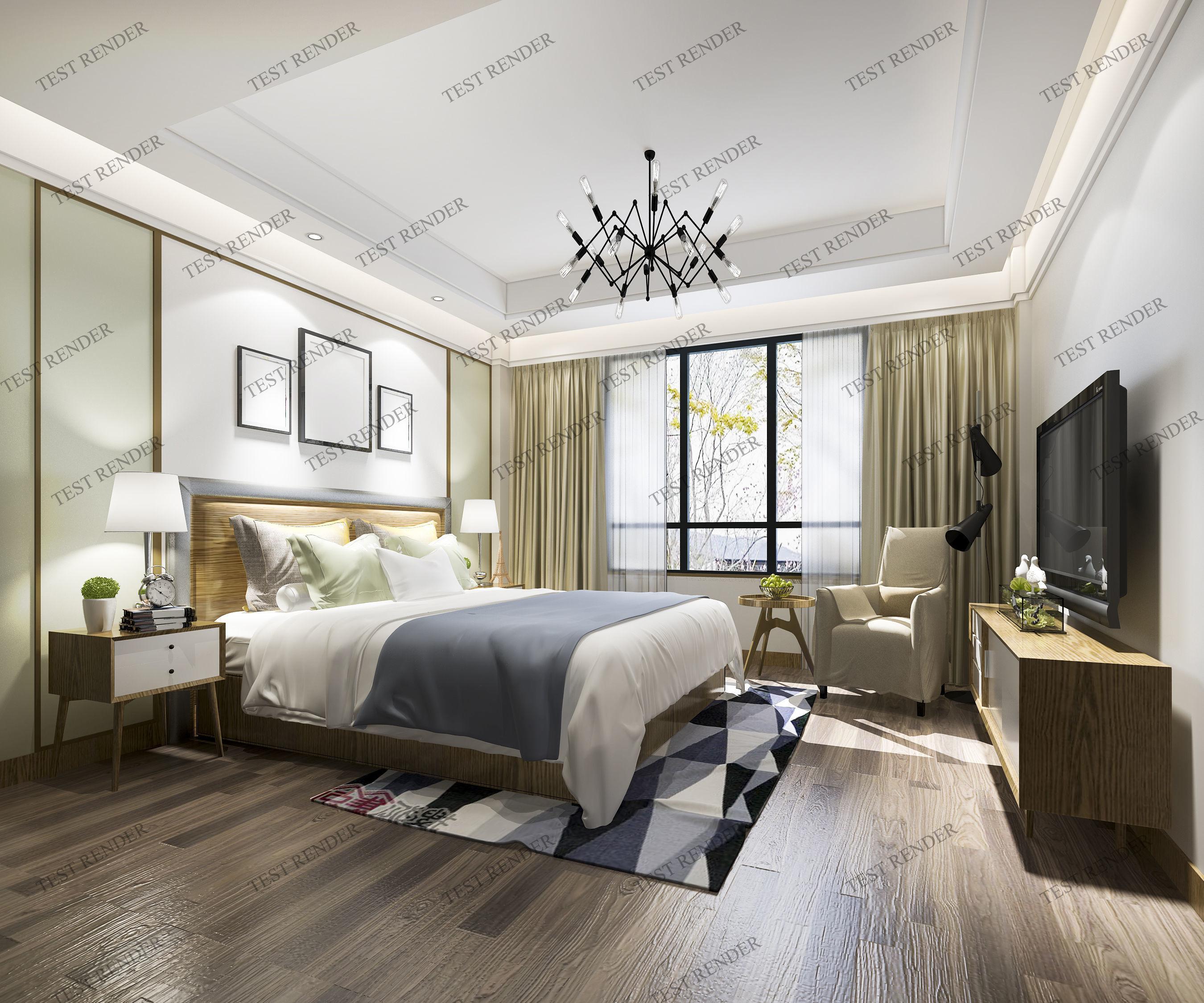 Living luxury modern bedroom suite in hotel 3d model