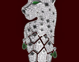 panther pendant jewelry 3d model