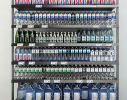 Rack with mineral water 3D model