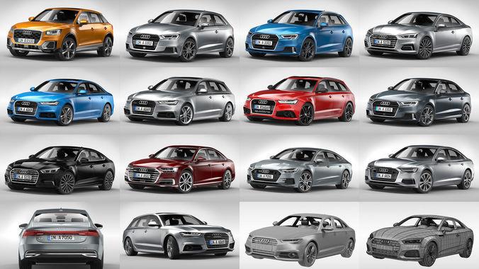 audi passenger cars 2017 - 2019 3d model max obj mtl 3ds fbx c4d ma mb 1