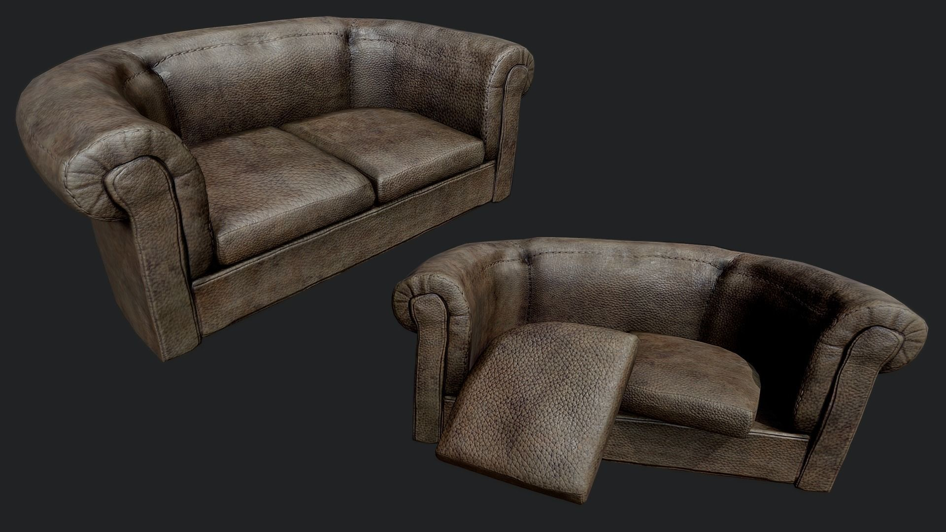 Old Leather Couch PBR | 3D model