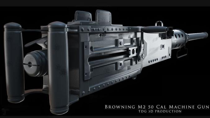 browning m2 50 cal machine gun 3d model max obj mtl fbx dxf stl X 1